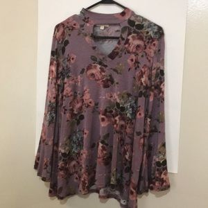 ODDY Choker Bell Sleeve Floral Blouse